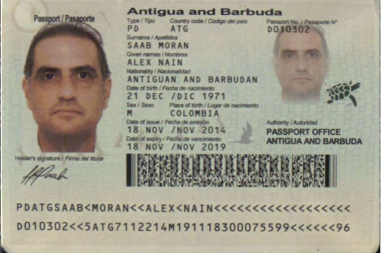 Alex Saab Antigua's passport.