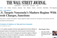 U.S. Targets Venezuela's Maduro Regime With Fresh Charges, Sanctions